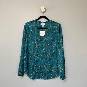 NWT Liz Claiborne Teal Floral Blouse- Size XL